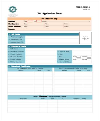 Standard Application Form Samples - 7+ Free Documents In Word, Pdf