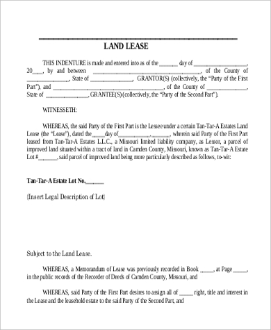 standard land lease form example