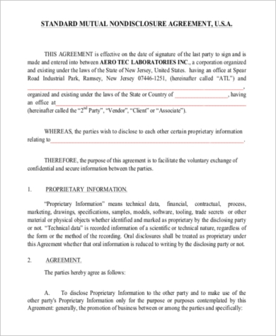 Mutual Non Disclosure Agreement - 8+ Free Documents In Word, Pdf