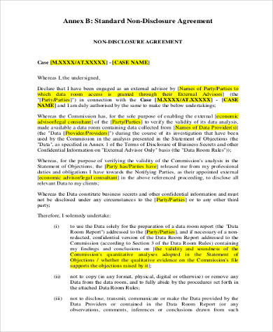 Non Disclosure Agreement Form Samples 8 Free Documents In Word Pdf