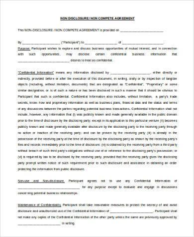 standard non disclosure non compete agreement