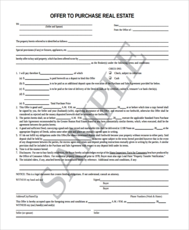 Sample Offer To Purchase Real Estate Form 6 Free Documents In