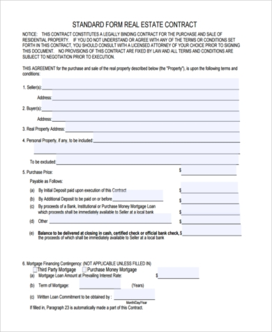 standard offer to purchase real estate form