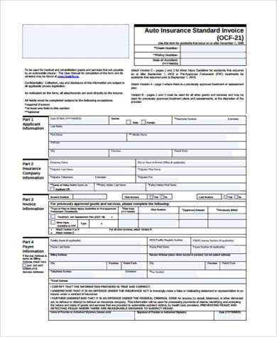 standard payment invoice form