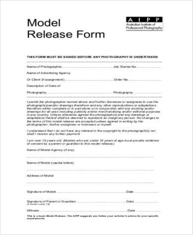 Sample photography model release forms 8 free documents for Standard model release form template