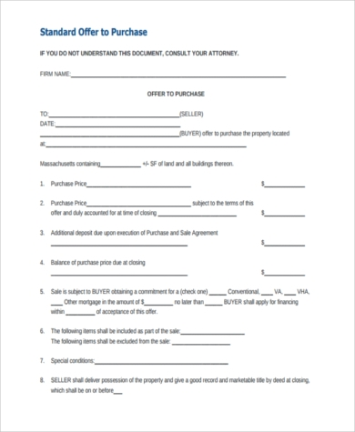 standard purchase offer form