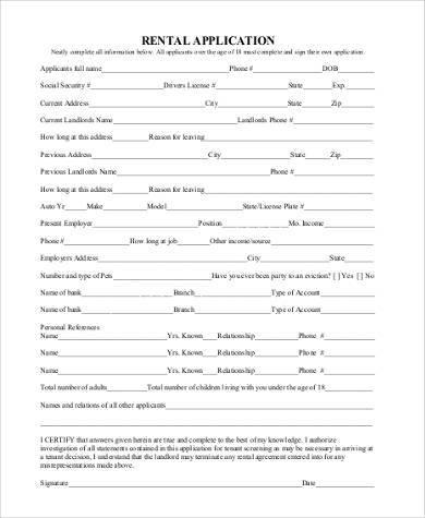 standard rental application form1