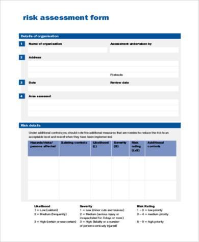 standard risk assessment form in pdf