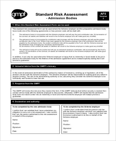 standard risk assessment form