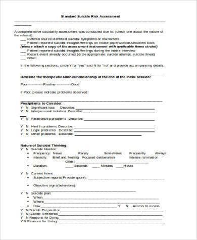 standard suicide risk assessment form