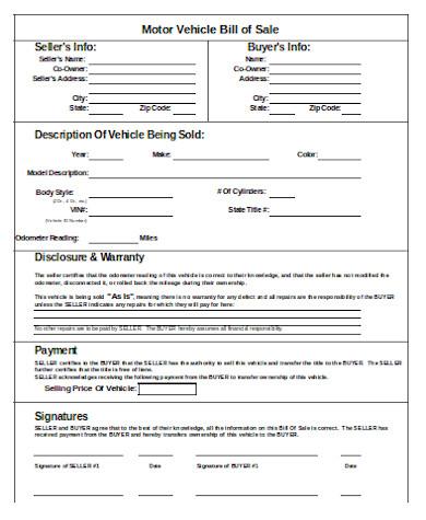 standard vehicle bill of sale