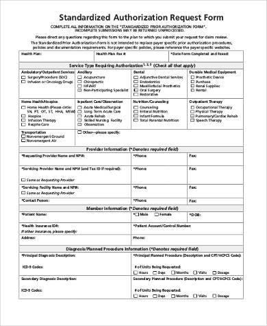 standardized authorization request form