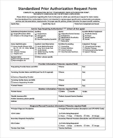 standardized prior authorization request form