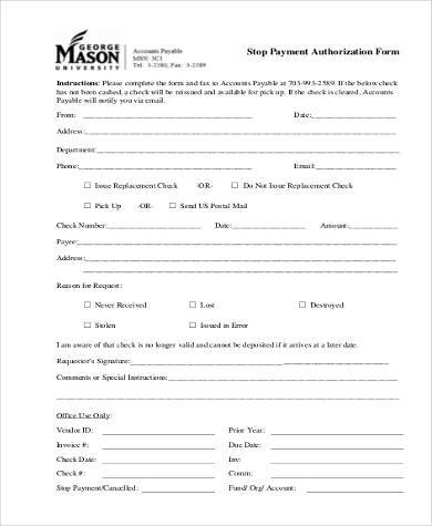 stop payment authorization form
