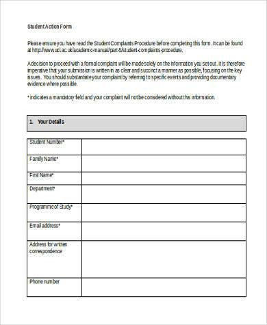 student action form in word format