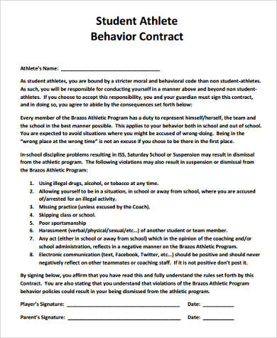 student athlete behavior contract form