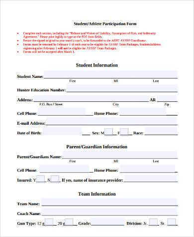 student athlete waiver form
