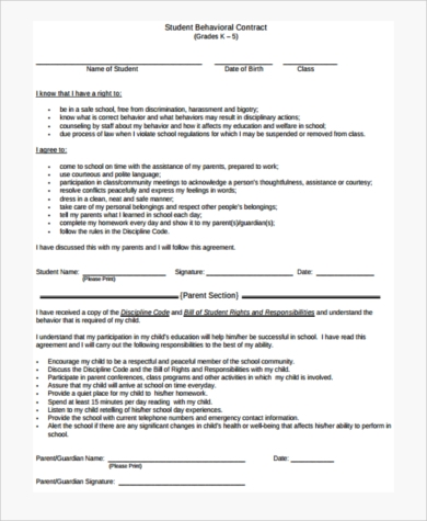 sample behavior contract template