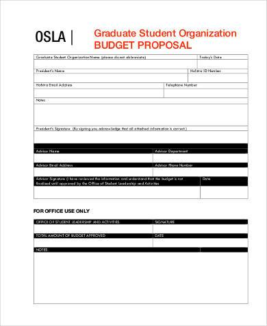 Sample Budget Proposal Forms   Free Documents In Word Pdf