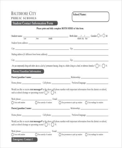 student contact form example