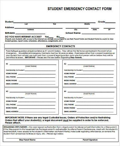 student contact form in pdf
