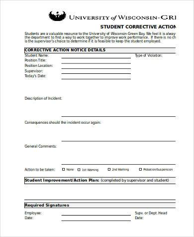 student corrective action form