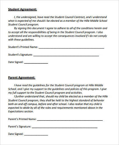 student council behavior contract form