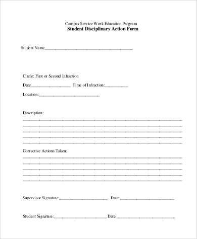 Sample Student Action Forms   Free Documents In Word Pdf