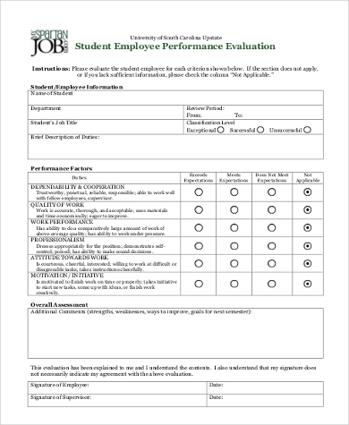 student employee performance evaluation form