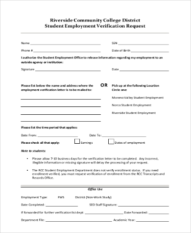 Student Employment Verification Request Form  Employment Verification Form Sample