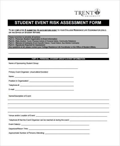 student event risk assessment form