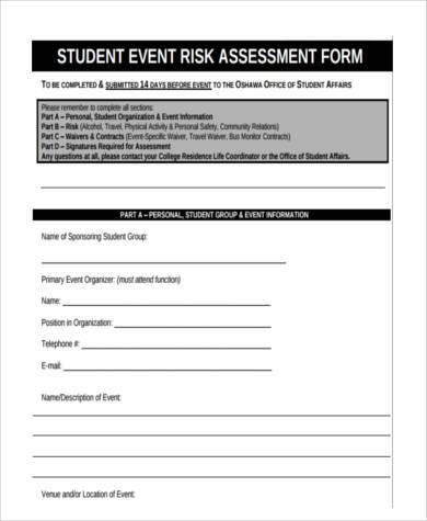 student event risk assessment form1