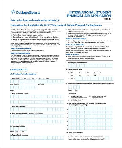 student financial aid form