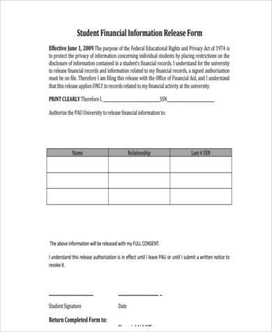 Student Financial Information Release Form