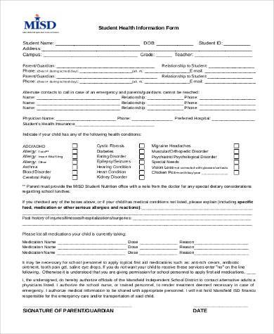 student health information form