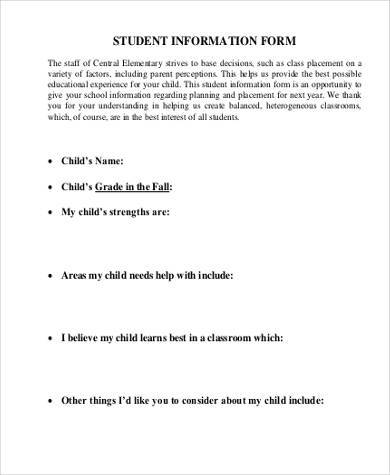 student information form pdf