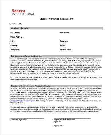 student information release form