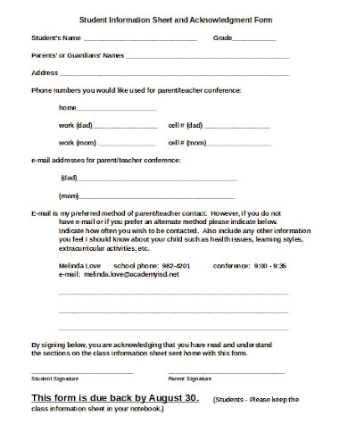 student information sheet and acknowledgment form
