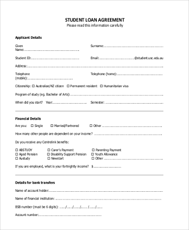 student loan agreement form