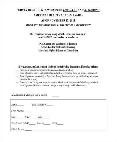 student loan survey form