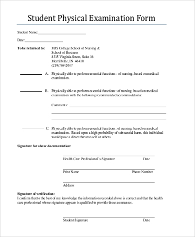 physical exam form