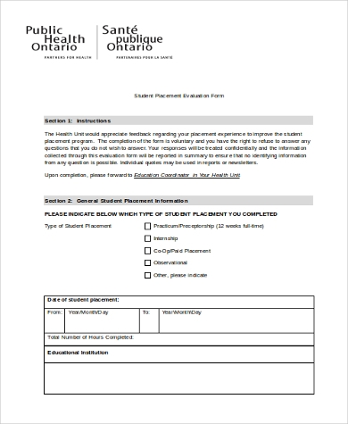 student placement evaluation form