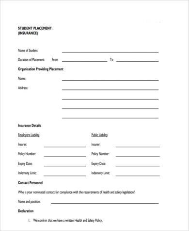 student placement risk assessment form