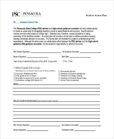 student plan of action form