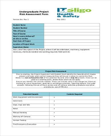student project risk assessment form