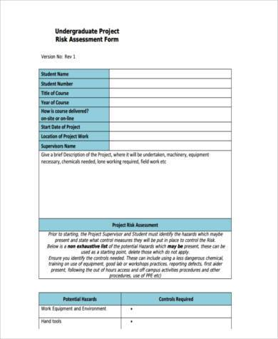 student project risk assessment form1