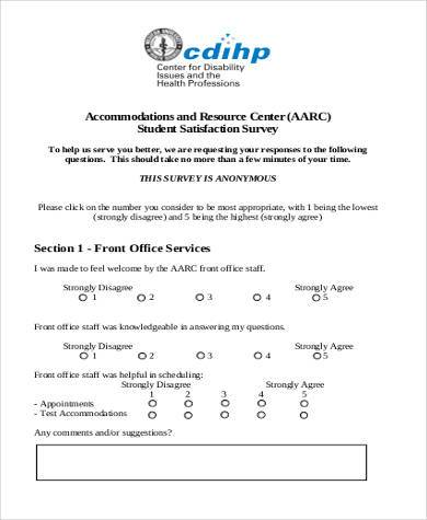 student satisfaction survey form