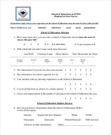 student services survey form