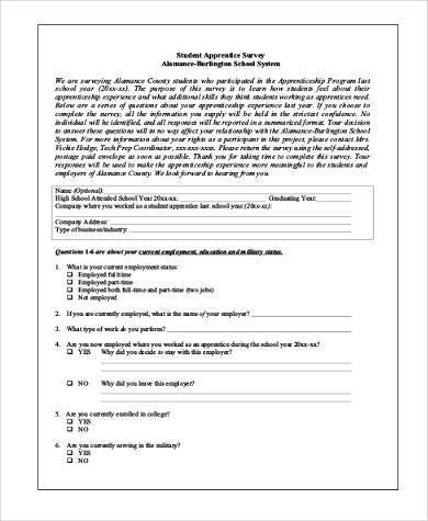 Sample Student Survey Forms   Free Documents In Pdf