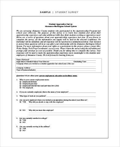 student survey form sample